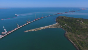 Строительство Керченского моста с высоты