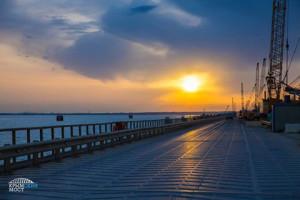 Закат на строительстве Керченского моста