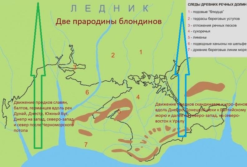 предки балтов, славян и германцев ушли от Черноморского потопа на северо-запад Европы и по долине Дуная до Австрии. Предки скандинавов от земель нынешнего Азовского моря на север
