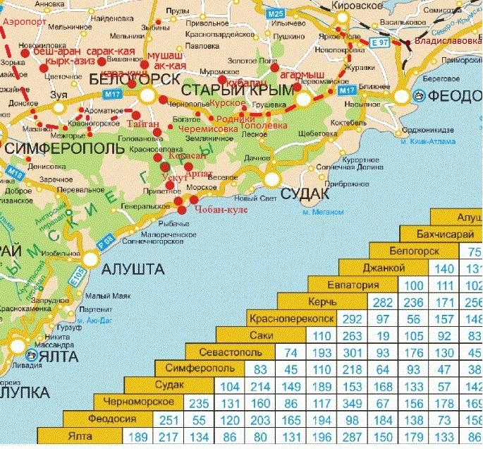Карта достопримечательностей и туристического сервиса. Белогорский район и соседние регионы