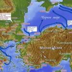 Карта набегов южных готов (росов дромитов) на порты Восточно-римской империи