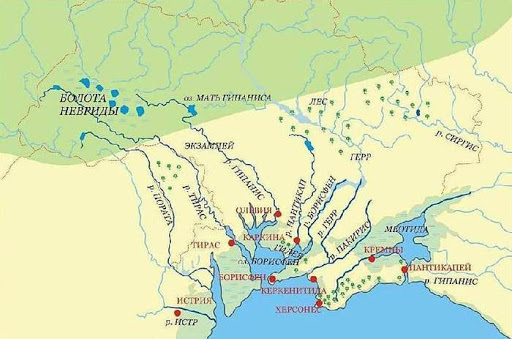 Карта Великой Скифии времен Геродота. В Ольвии он не был. Борисфен совершенно другой город, давно (4-3 век до новой эры) оказался под водой. Реконструкция Игоря Русанова на основе книг по морскому бурению для Газпром СССР.