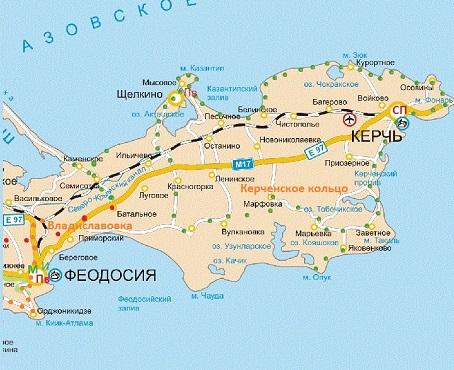 Круговой вело маршрут Керченское кольцо, карта