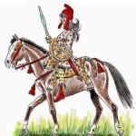 Вполне грамотная историческая реконструкция вооружения амазонки, только лошадка не боевая а парадная. Воевали на коротконогих конях, с них удобнее разбивать головые пехоте.